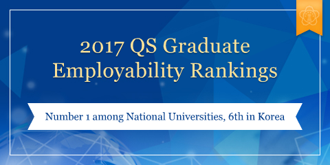 2017 QS Graduate Employability Rankings Number 1 among National Universities, 6th in Korea