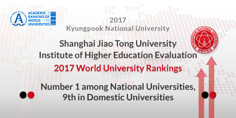 2017 Kyungpook National University Shanghai Jiao Tong University Institute of Higher Education Evaluation 2017 World University Rankings Number 1 among National Universities, 9th in Domestic Universit